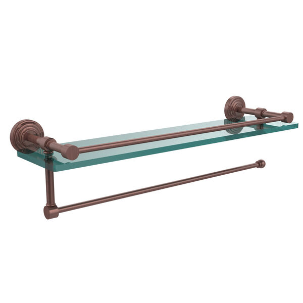 Waverly Place Collection Paper Towel Holder with 16 Inch Gallery Glass Shelf, Antique Copper, image 1