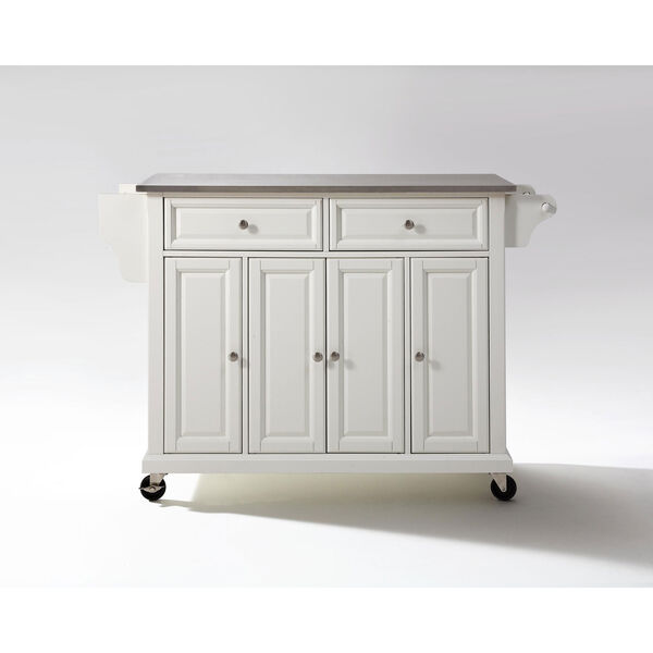 Stainless Steel Top Kitchen Cart/Island in White Finish, image 2