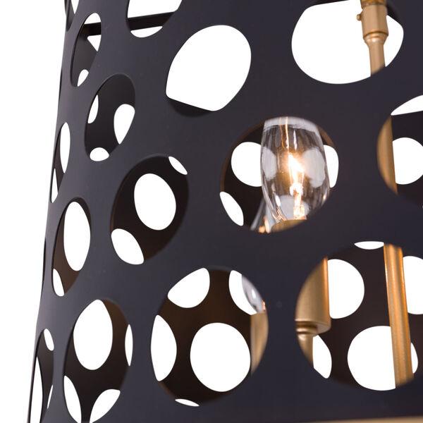 Bailey Matte Black French Gold 16-Inch Three-Light Semi Flush, image 3