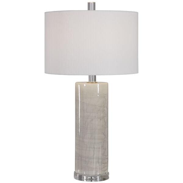 Zesiro Beige and Polished Nickel Table Lamp, image 1