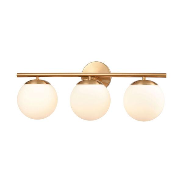 Hollywood Satin Brass Three-Light Bath Vanity, image 1