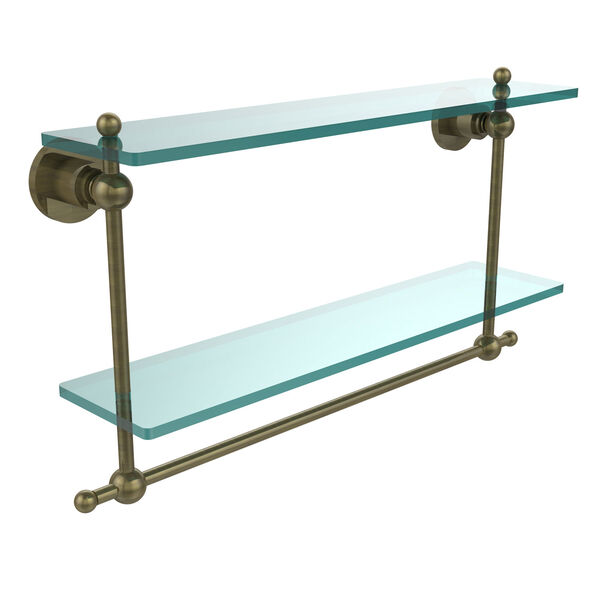 Antique Brass Double Shelf with Towel Bar, image 1