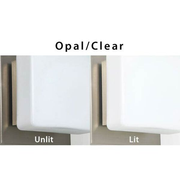 Alex Satin Nickel Three-Light LED Bath Vanity with Opal and Clear Glass, image 3