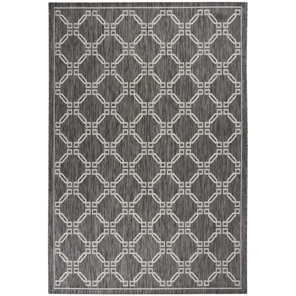 Garden Party Charcoal and Gray 7 Ft. x 10 Ft. Rectangle Indoor/Outdoor Area Rug, image 2