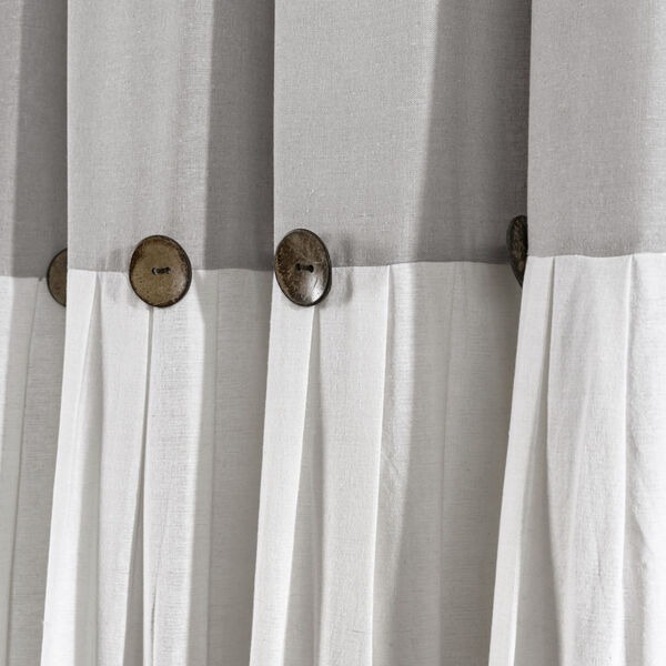 Linen Button Gray and White 40 x 108 In. Single Window Curtain Panel, image 2