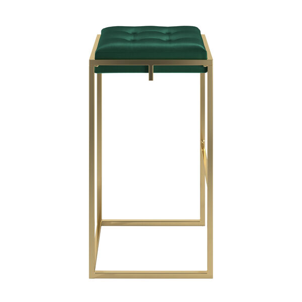 Minnie Gold and Green Velvet Button Tufted Bar Stool, Set of Two, image 2