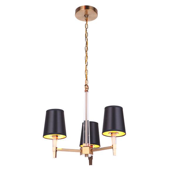 Tarryn Satin Brass Three-Light Chandelier, image 4