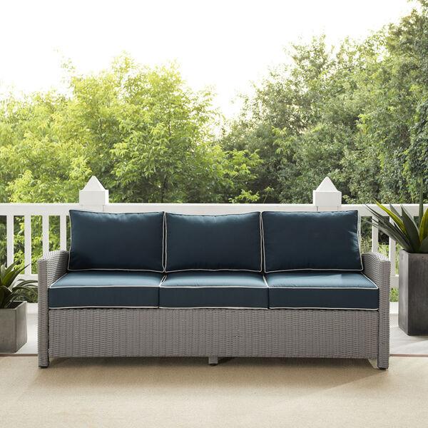 Bradenton Gray and Navy Outdoor Wicker Sofa, image 1