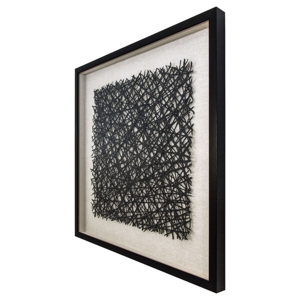 Black and White 32-Inch Thread Lightly Wall Art, image 2