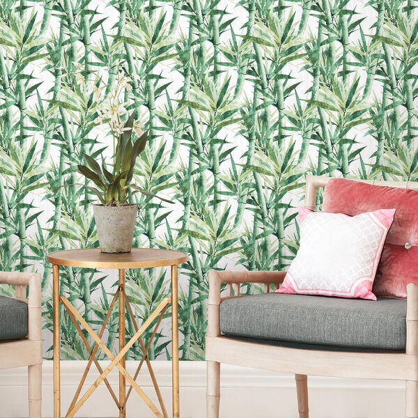 Lucky Bamboo Green And White Peel and Stick Wallpaper, image 5