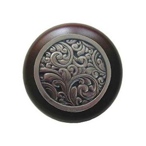 Dark Walnut Saddleworth Knob with Brite Nickel , image 1