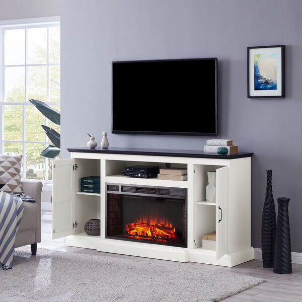Belranton White and black Widescreen Electric Fireplace with Media Console, image 4