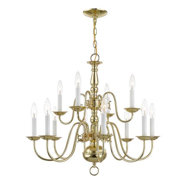 Williamsburgh Twelve-Light Polished Brass Chandelier, image 1