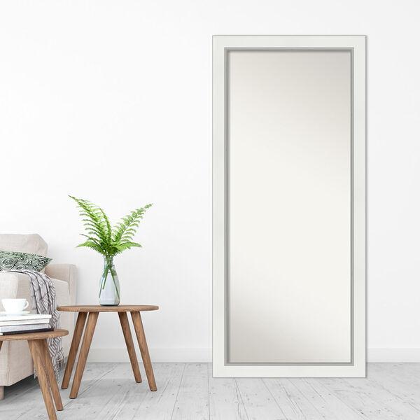 Eva White and Silver 29W X 65H-Inch Full Length Floor Leaner Mirror, image 3