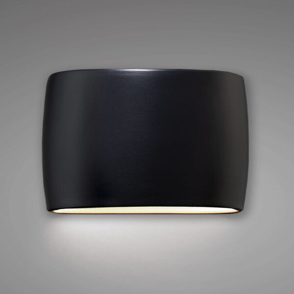 Ambiance Carbon Matte Black 16-Inch Two-Light Wide ADA Closed Top GU24 LED Oval Outdoor Wall Sconce, image 2