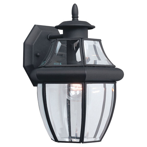 Curved Beveled Black One-Light Outdoor Wall Mount, image 1