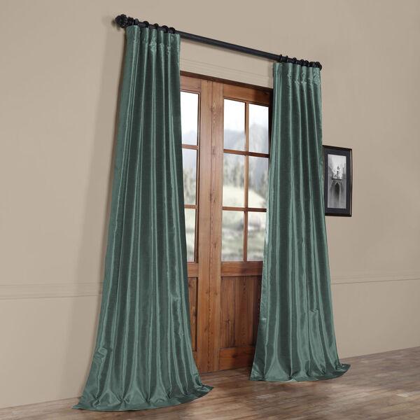 Teal 84 x 50 In. Faux Dupioni Silk Single Panel Curtain, image 8