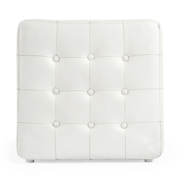 Accent Seating Leon White Leather Ottoman, image 3