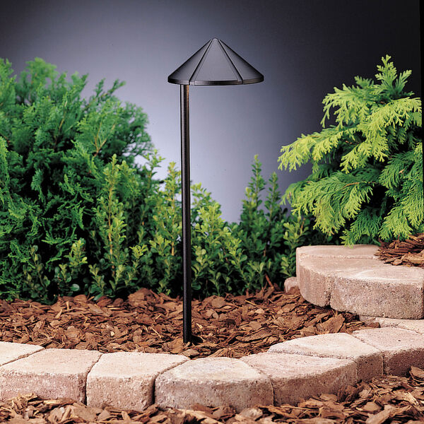 Six Groove Textured Black 19.5-Inch One-Light Landscape Path Light, image 1
