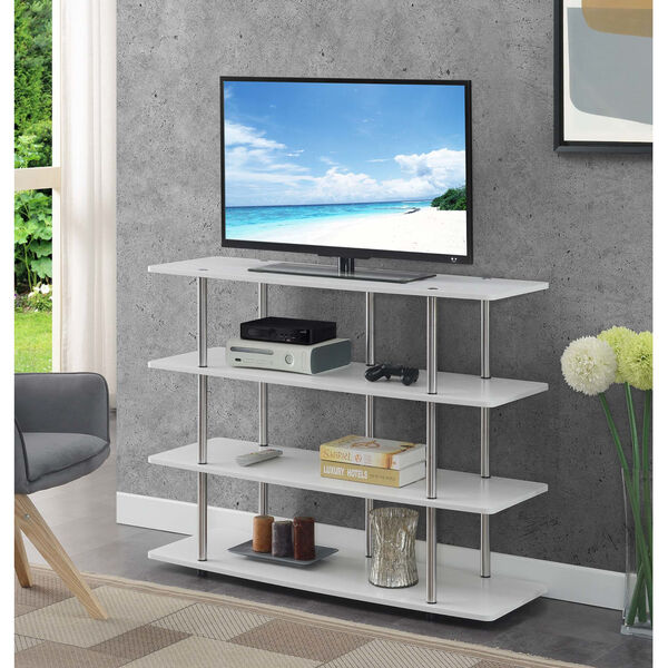 Designs2Go White Highboy Four-Tier TV Stand, image 2