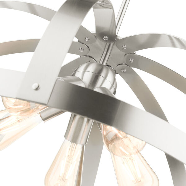 Stoneridge Brushed Nickel Five-Light Pendant, image 6