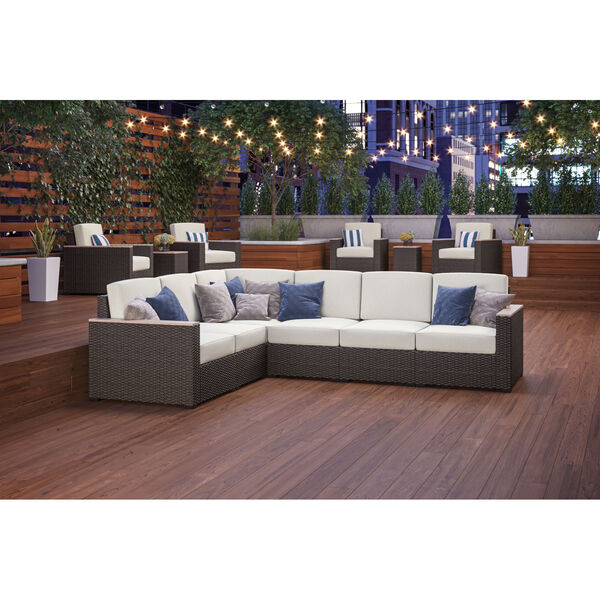 Palm Springs Brown Patio Six-Seat Sectional, image 2