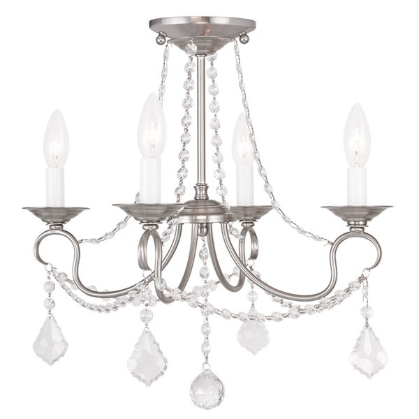 Pennington Brushed Nickel Four Light Convertible Chain Hang and Ceiling Mount, image 2