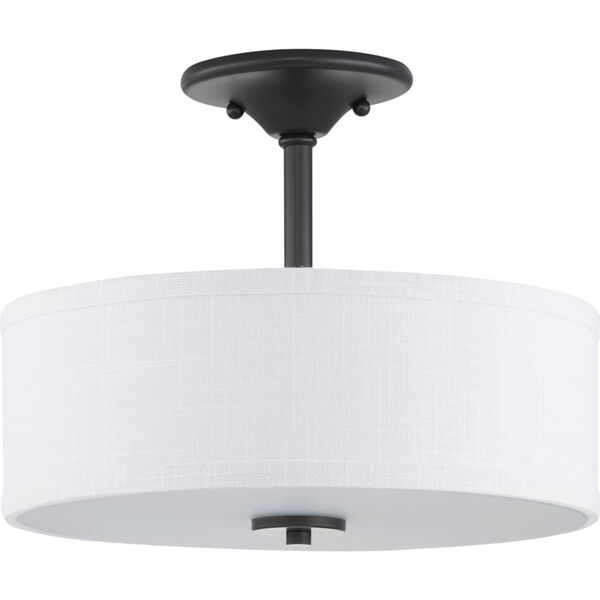 Graphite Two-Light Semi-Flush With Fabric Shade, image 1