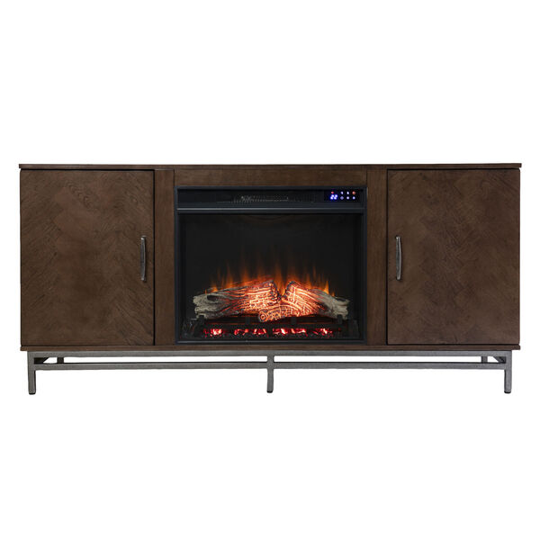 Dibbonly Brown and matte silver Electric Fireplace with Media Storage, image 4