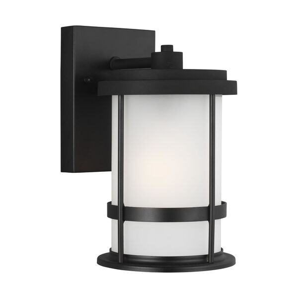 Wilburn Black Six-Inch One-Light Outdoor Wall Sconce with Satin Etched Shade, image 2
