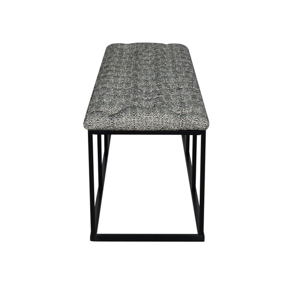 Black and White 52-Inch Fabric and Metal Bench, image 5