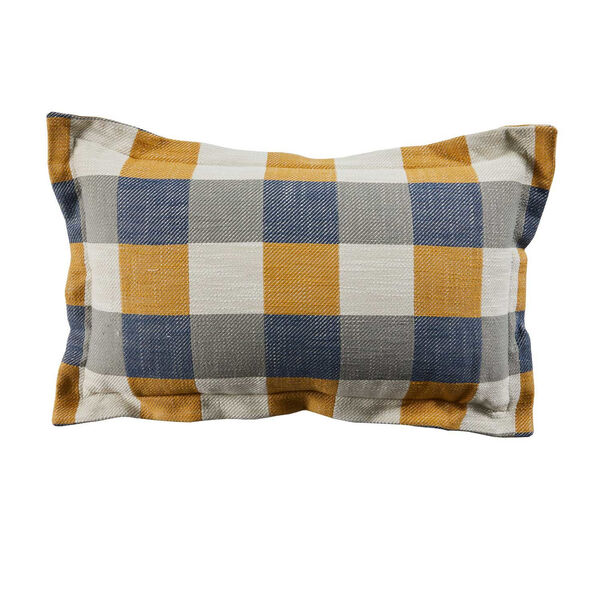Plaid Mustard 14 x 24 Inch Pillow with Pinstripe Cord, image 1