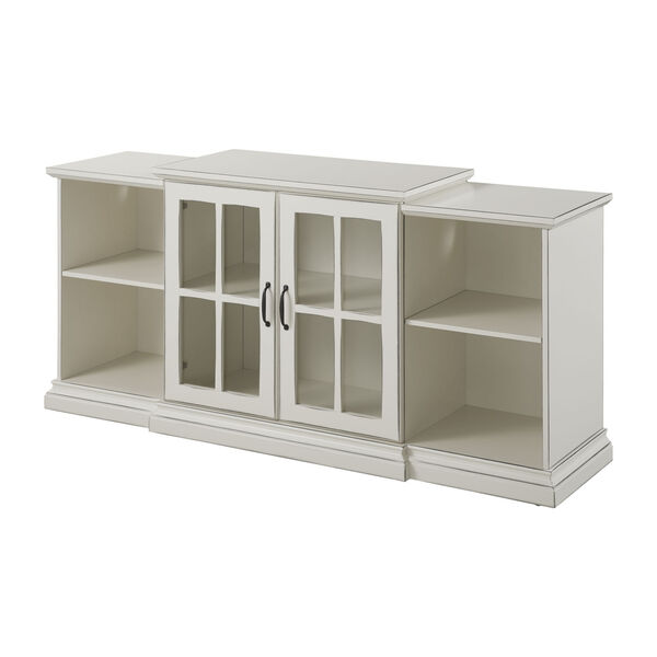 Antique White 60-Inch Classic Two-Door Tiered TV Console, image 1
