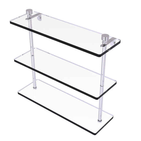 Foxtrot Polished Chrome 16-Inch Triple Tiered Glass Shelf, image 1