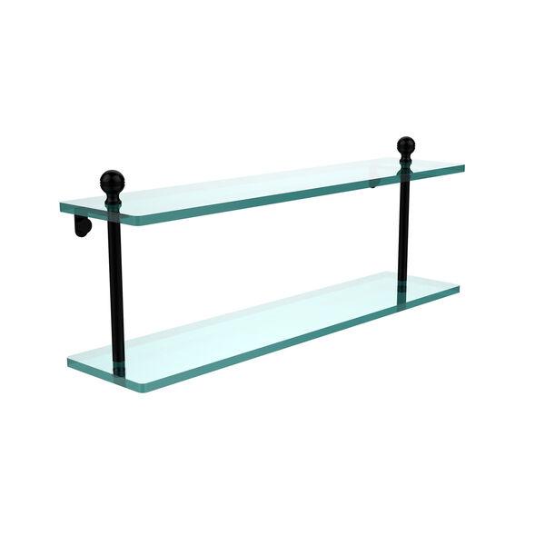 Matte Black 22 x 5 Glass Shelf, image 1