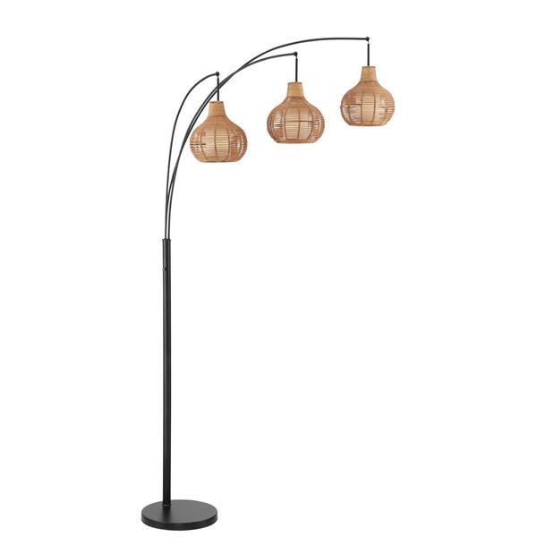 Paige Black Three-Light Arc Floor Lamp, image 1