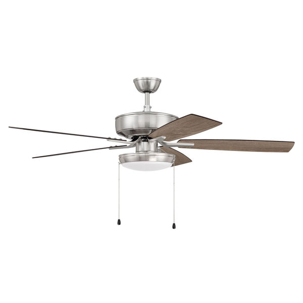 Pro Plus Brushed Polished Nickel 52-Inch LED Ceiling Fan with Frost Acrylic Pan Shade, image 1