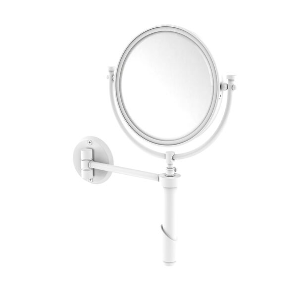 Tribecca Matte White Eight-Inch Wall Mounted Make-Up Mirror with 4X Magnification, image 1