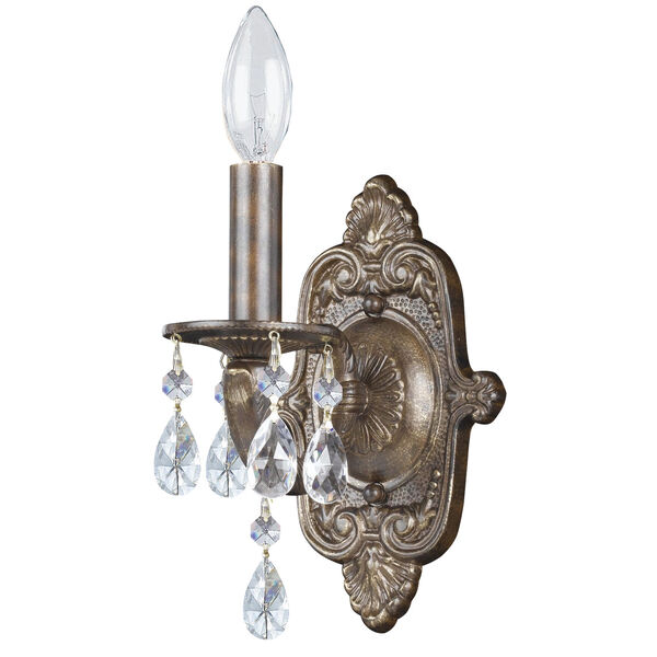 Hampton Venetian Bronze Ornate One-Light Wall Sconce Draped with Clear Hand Cut Crystal, image 1