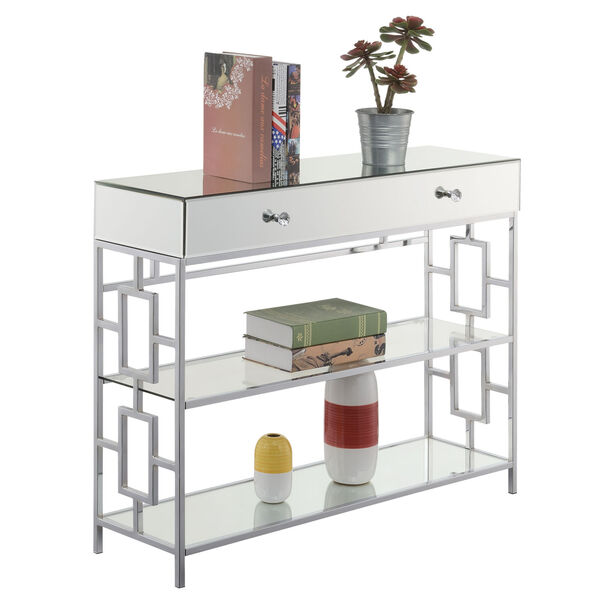 Town Square Mirror, Glass and Chrome Single Drawer Mirrored Console Table, image 3