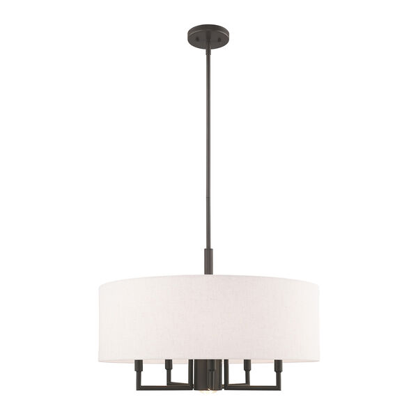 Meridian English Bronze 24-Inch Six-Light Pendant Chandelier with Hand Crafted Oatmeal Hardback Shade, image 1