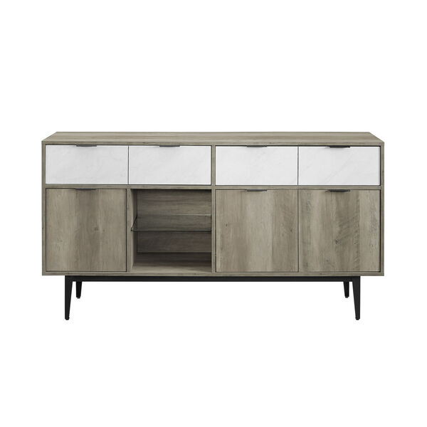 Baltic Faux White and Gray Sideboard with Two Drawer, image 3