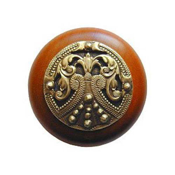 Cherry Wood Regal Crest Knob with Antique Brass, image 1