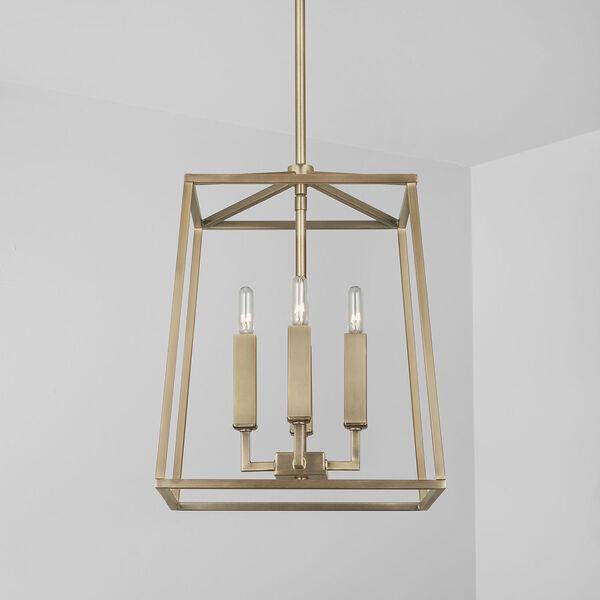 Thea Aged Brass Four-Light Foyer Pendant, image 3