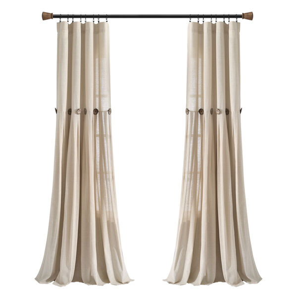Linen Button Cream 40 x 84 In. Single Window Curtain Panel, image 6