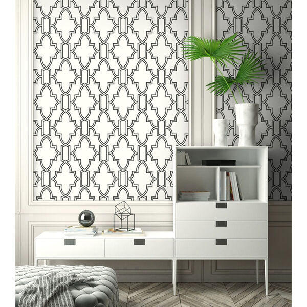 NextWall Black and White Tile Trellis Peel and Stick Wallpaper, image 5