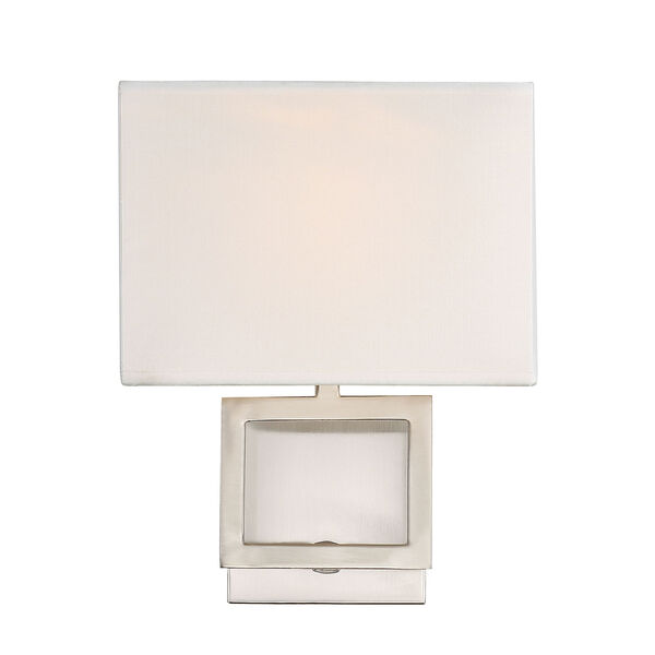 Uptown Brushed Nickel One-Light Wall Sconce with Square White Fabric Shade, image 1