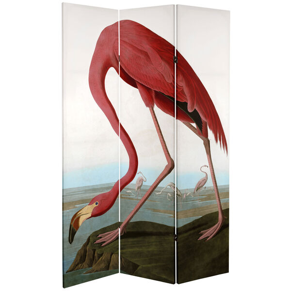 6-Foot Tall Double Sided Audubon Heron and Flamingo Canvas Room Divider, image 3