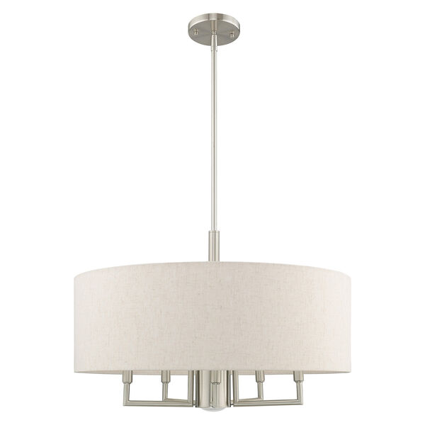 Meridian Brushed Nickel 24-Inch Six-Light Pendant Chandelier with Hand Crafted Oatmeal Hardback Shade, image 2