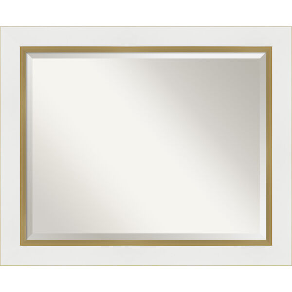 Eva White and Gold 33W X 27H-Inch Bathroom Vanity Wall Mirror, image 1